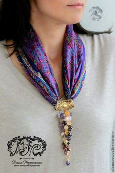 – Second Crafting . – Second Crafting Scarf Necklace, Fabric Necklace, Scarf Jewelry, Textile Jewelry, Fabric Jewelry, Diy Necklace, Beaded Jewelry, Jewelry Necklaces, Handmade Jewelry