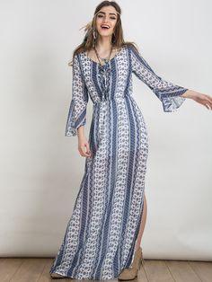 Color Block Folk Print Lace Up Open Back Maxi Dress