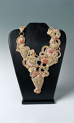 La Grande Bellezza Necklace - Eliana Maniero Bib-Style Necklace with Acrylic Focals, SWAROVSKI ELEMENTS and Soutache Cord
