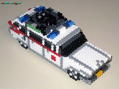3-D Ecto 1 Ghostbusters - Perler Bead Sprite (Front) by Doctor Octoroc
