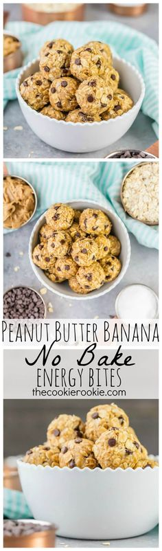 Peanut Butter Banana No Bake Energy Bites are the perfect EASY healthy sweet treat, breakfast, or snack for the busy days! Perfect for back to school or diets! From The Cookie Rookie!