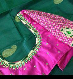 Mirror Work Saree Blouse, Pink Saree Blouse, Silk Saree Blouse Designs, Bridal Blouse Designs, Work Blouse, Silk Sarees, South Indian Blouse Designs, Best Blouse Designs, Blouse Back Neck Designs