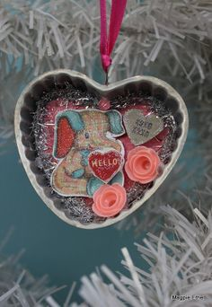 Vintage Style Valentine Ornament, Tin Mold with Valentine Elephant