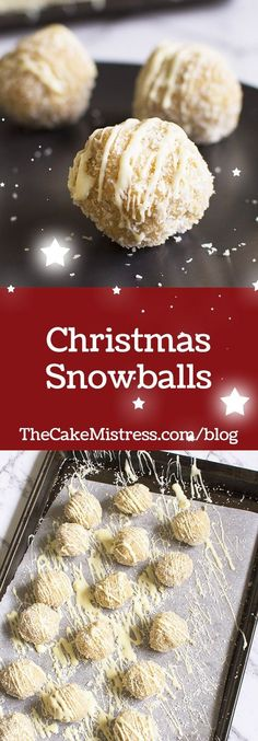 These no-bake festive Christmas Snowballs are filled with coconut, biscuit crumbs, almonds and white chocolate. #christmas #baking #snowballs #nobake