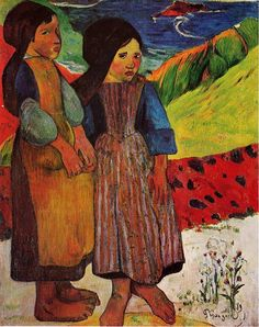 "parkstepp: "":"" Las muchachas bretonas by the Sea, 1889, Paul Gauguin.  Pintor francés postimpresionista, (1848-1903) ""poboh:"""