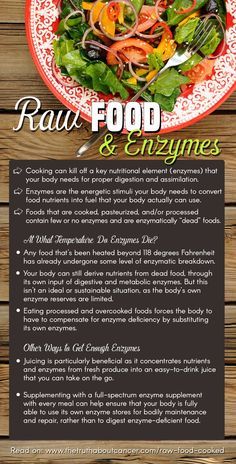 """Did you know that the cooking process (as good as it makes many foods taste) changes the composition and structure of raw food? In fact, it can kill off a key nutritional element that our bodies need for proper digestion and assimilation: enzymes. Click on the image above to read on as Ty distinguishes what is """"alive"""" and what is """"dead"""" on your plate as far as nutrients go and what you can do to replenish those much needed enzymes."""