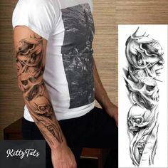 9593b63959852 New 1 Piece Temporary Tattoo Sticker Skull Full Flower Tattoo with Arm Body  Art Big Large Fake Tattoo Sticker