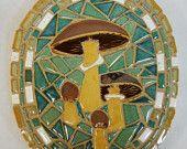 Woodland Mushrooms Mosaic Wall Art / Trivet Handmade Ceramic Tile