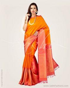 Orange & Pink Pure Kanchivaram Silk Saree
