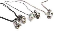 Pearl skull face necklaces from Samira 13 Skull Face, Skull Jewelry, Las Vegas, Necklaces, Pendant Necklace, Pearls, Silver, Style, Swag