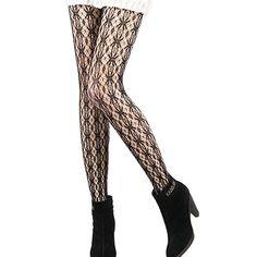 Womens Black Fishnet Pattern Jacquard Stockings - Various Styles