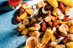 Boil Over Chicken Bog, Steamed Shrimp, Louisiana Crawfish, Crab Boil, Lemon Butter Sauce, Cocktail Sauce, Old Bay Seasoning, Ears Of Corn, Cooking Together
