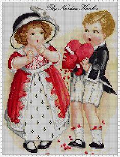 Nurdan' ın Yeri: Vintage Postcard Cross Stitch Patterns - Objects with Cross Stitch! / Vintage Kartpostal Desenlerim - Kanaviçe ile Neler Yapmışlar Neler!