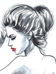 girl, sketch, fashion, lips, drawing