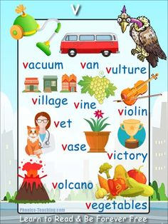 v words - v sound Phonics Poster - FREE & PRINTABLE - Perfect for phonics practice, auditory discrimination, spelling, Word Walls & Home Reading Practice. English Phonics, English Vocabulary, Teaching English, English Alphabet, English Lessons, Learn English, Phonics Sounds, Letter Sounds, Alphabet Sounds
