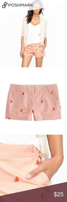 """J.Crew Sailboat Critter Shorts • 3"""" Chino Shorts It's always warm and sunny somewhere, so everyone's favorite classic chino short is back with cute embroidered sailboats!  J. Crew Chino Shorts Size 0. 3"""" inseam. Zip fly. Front slant pockets. Back welt pockets. 100% Cotton. Machine wash.  Peach • Coral • Orange • Pink • Sailboats J. Crew Shorts"""