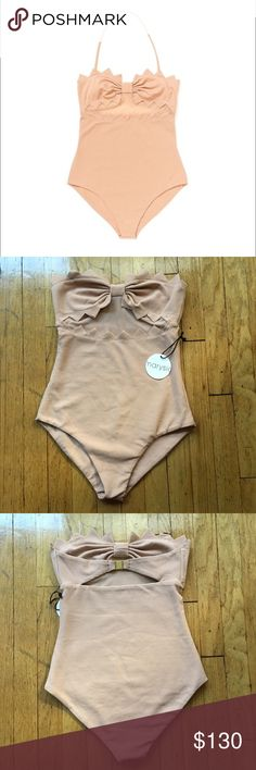 Marysia Zig Zag Maui Maillot Swimsuit in Nude A Marysia Swim one-piece with a touch of texture. Zigzag edges and a sheer mesh inset. Bonded sides. Lined. 88% polyester/12% Lycra spandex.  HALTER STRAP NOT INCLUDED. Never worn!! Always authentic! ❌no trades❌ Marysia Swim Swim One Pieces