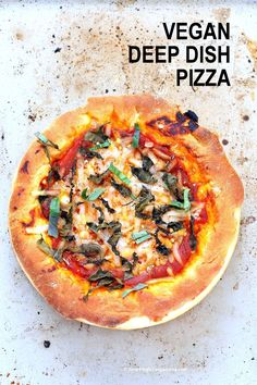 Easy Deep Dish Pizza with from scratch crust red pepper spinach vegan mozzarella and basil. Vegan Pizza Homemade Crust Recipe The post Vegan Deep Dish Pizza appeared first on Vegan. Deep Dish Pizza Recipe, Vegan Pizza Recipe, Pizza Vegana, Whole Food Recipes, Cooking Recipes, Dinner Recipes, Gourmet Recipes, Enjoy Your Meal, Vegan Main Dishes