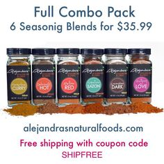 On sale now! Our full combo pack for $35.99. Six amazing seasoning blends with flavors from all over the world. #Artisanal and made in small batches using only certified organic ingredients that are naturally gluten free and vegan. Our entire line is @certifiedpaleo and #Kosher Certified. Proudly made in #LosAngeles! #MadeinLA #Chef #cooking #foodie #glutenfree #vegan ➡www.alejandrasnaturalfoods.com⬅
