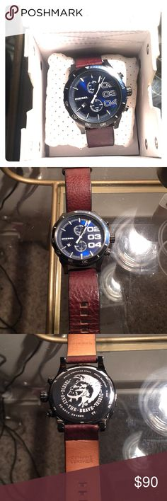 """Diesel 10bar watch Amazing """"like new"""" brown leather band w/ metallic blue face. 10 bar. With original box and watch cushion. Diesel Accessories Watches"""