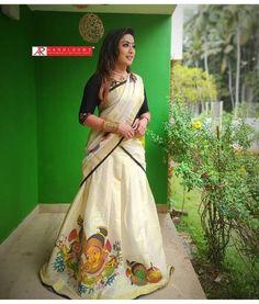 Kasavu Saree, Half Saree Designs, Indian Designer Wear, Kerala, Bridal Dresses, Sari, Costumes, How To Wear, Wedding