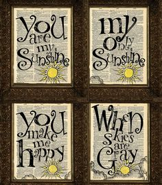 4 You Are My Sunshine Dictionary Prints, 1 set, Art print, Dictionary Page, Mixed Media Collage,  Wall Decor, Wall Art