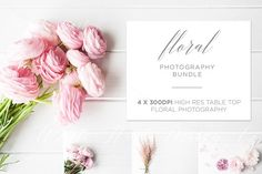 BUNDLE - 4 x Table top #floral #photos by White Hart Design Co. on @creativemarket
