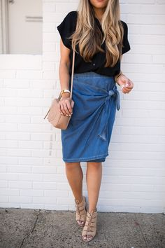 Denim tie waist skirt + black blouse + tan wedges