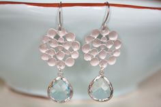Dangle Earrings, Aqua Glass, Silver Pendant,  Bridesmaids Jewelry, Bridal Jewelry, Everyday Earrings. $30.00, via Etsy.