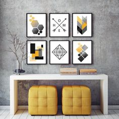 Geometric Poster, Geometric Wall, Geometric Prints, Modern Prints, Art Prints, Modern Art, Contemporary Art, Home Decor Sets, Yellow Art