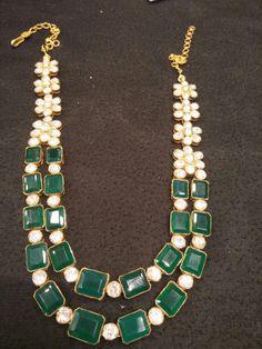 Two Layer Emerald Medium Size Set - Jewellery Designs Indian Wedding Jewelry, Indian Jewelry, Indian Jewellery Design, Jewellery Designs, 22 Carat Gold, Turquoise Necklace, Emerald, Pendants, Jewels