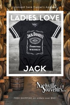 035f7e43 Officially licensed ladies Jack Daniels Bottle Label V-neck Jersey T-Shirt  in charcoal