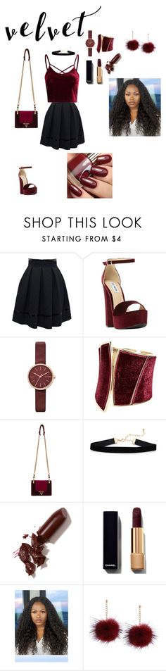 """Velvet"" by glitterqueenz ❤ liked on Polyvore featuring Tamara Mellon, Steve Madden, Skagen, GUESS by Marciano, Prada, LAQA & Co. and velvet"