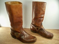 Vintage Spanish Leather Motorcycle Boots