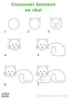 Cat drawing for kids Art Drawings For Kids, Doodle Drawings, Drawing For Kids, Easy Drawings, Doodle Art, Animal Drawings, Art For Kids, Cat Doodle, Drawing Lessons