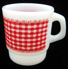 Vintage FIRE KING Ware RED GINGHAM PLAID Stackable Milk Glass MUG Coffee Cup
