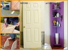 turn an old door into a corner shelf DIY Door Corner Shelves, Diy Corner Shelf, Ladder Shelf Diy, Online Home Design, Home Design Magazines, Old Doors, Ikea Furniture, Diy Door, Creative Home