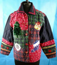 Christmas Jacket Holiday Xmas Winter Red Green Plaid Quilt Warm Cotton Bells Snowflake Tree Stocking Patchwork Folk Art Barn by CavalierDreams on Etsy https://www.etsy.com/listing/479086165/christmas-jacket-holiday-xmas-winter-red