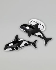 Orca Cuff Links by Jan Leslie at Neiman Marcus. •Sterling silver cuff links with anti-tarnish rhodium finish. •Orca whale fronts. •Hand-painted enamel.
