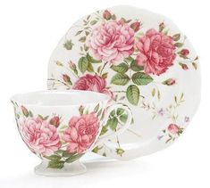 Saddlebrooke Porcelain Teacup and Saucer - Roses And Teacups