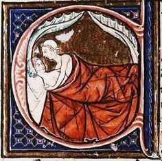 """Miniatura dal """"Regime dei Corpi"""" di Aldobrandino da Siena 1256 circa - Miniature from the """"Regime of the Body"""" of Aldobrandino from Siena about 1256"""