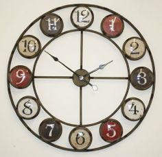 LARGE Metal Wrought Iron Hampton WALL CLOCK French Provincial