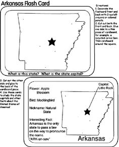 us state flash cards arkansas coloring page - Coloring Pages Of Crayons