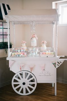 Pretty dessert cart: http://www.stylemepretty.com/living/2016/05/18/how-to-throw-a-parisian-inspired-birthday-sans-eiffel-tower/ | Photography: Simply Lace - http://www.simplylacephotography.ca/