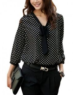 Dots Semi Sheer Tie-bow Neck Blouse. I ordered a small, it fits just like the photo. I love it! The fabric is soooo soft and amazing, and I don't even have to wear a top under it, it's not see through AT ALL. It looks perfect.