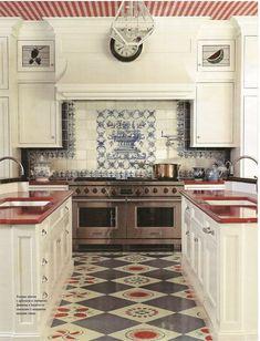 Red lava stone countertops make this kitchen pop. Red lava stone countertops make. Country Kitchen, New Kitchen, Vintage Kitchen, Kitchen Dining, Kitchen Decor, Kitchen Ideas, Country Living, Country Farmhouse, Kitchen Designs
