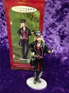 Hallmark 2000 - HARLEY DAVIDSON MOTORCYCLE LEATHER BIKER BARBIE Christmas Barbie, Motorcycle Leather, Barbie Dolls, Harley Davidson, Biker, Baseball Cards, Ornaments, Modern, Trendy Tree