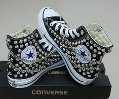 dcc406ab930 Genuine CONVERSE Black with studs & chains All-star Chuck Taylor Sneakers  Sheos