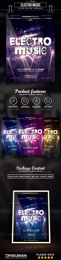 Electro Music #Flyer Template - Clubs & Parties Events Download here: https://graphicriver.net/item/electro-music-flyer-template/19374872?ref=alena994