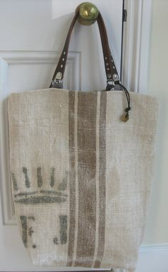 Reserved Listing for Marie-Claire Kingman Grain Sack Tote Bag. Brown Stripe . Leather Handles. Large. $120.00, via Etsy.